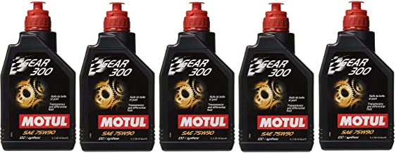 Motul 105777 Set of 5 Gear 300 75W-90 Transmission Fluid 1-Liter Bottles