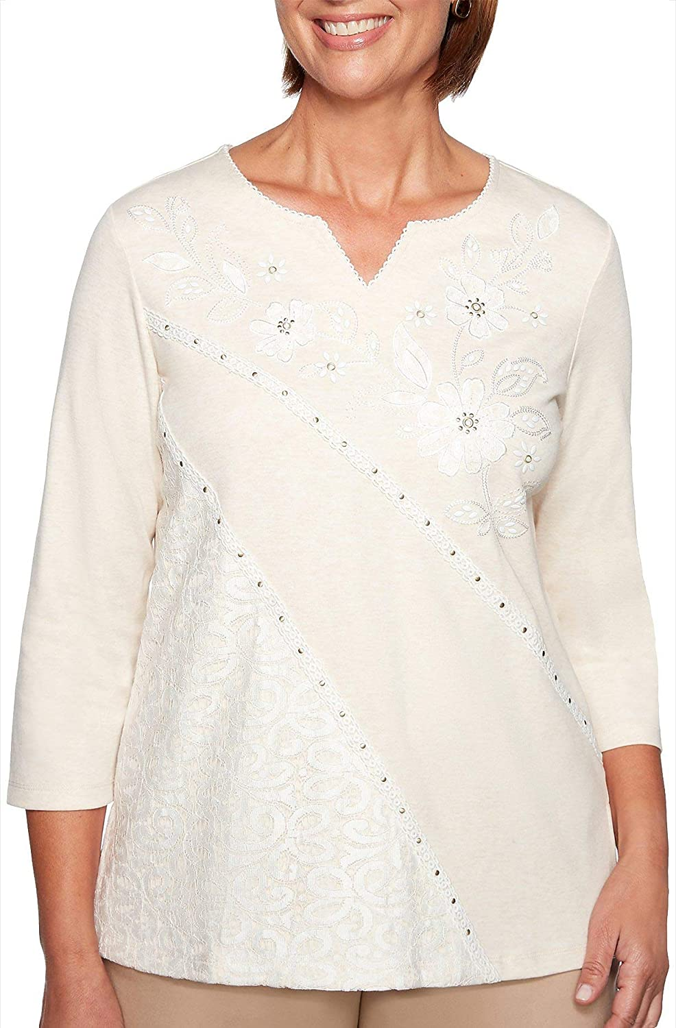 Alred Dunner Good to Go Asymmetrical Lace Top