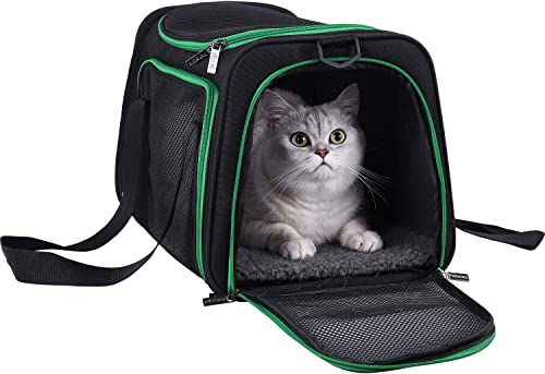 Soft Pet Carriers for Medium and Large Cats, 2 Kitties and Small Dogs w/Comfy Washable Bed, Top Entrance and Adjustab...