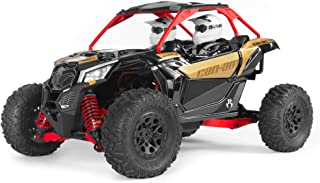 Axial Yeti Jr. Can-Am Maverick X3 RC Rock Racer 4WD Brushed Off-Road Side-by-Side 1/18 Scale RTR (Includes 2.4 Ghz Transmitter, Battery & Charger): AXI90069,Red, Gold and black