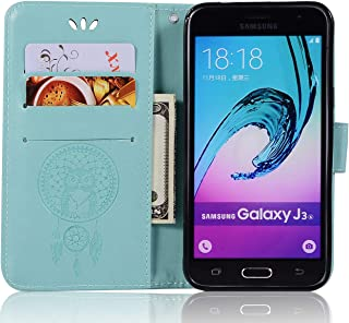 Samsung Galaxy J3 Pro [in India] Leather Case, Galaxy J3 Pro [in India] Wallet Case, PU Leather Embossed Floral Flip Case with Credit Card Holder for 5.0'' Samsung Galaxy J3 Pro [in India]