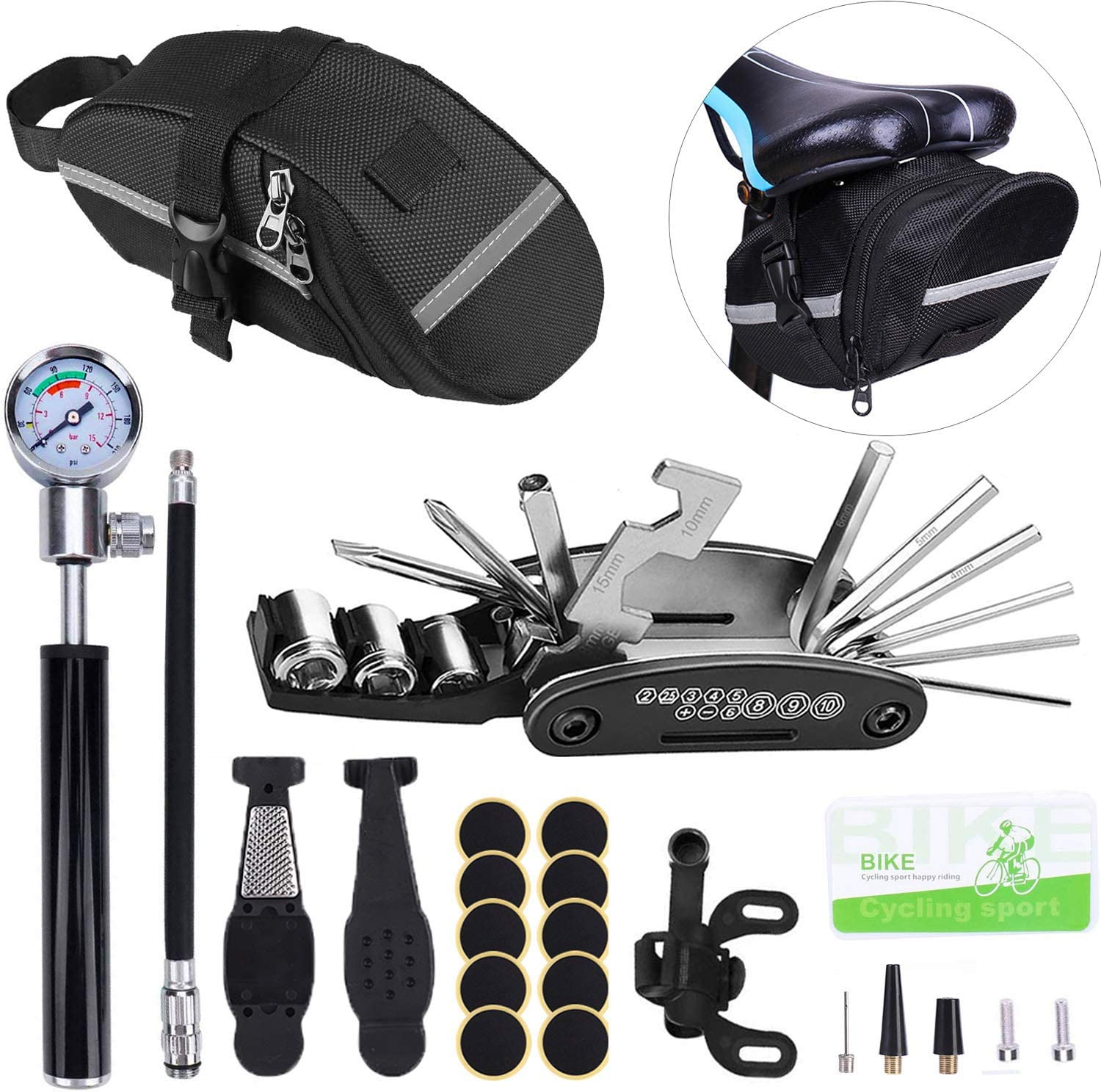 Beacon Pet Bike Tire Repair Kitwith Translated Saddle and Reservation Bag Mini Pump