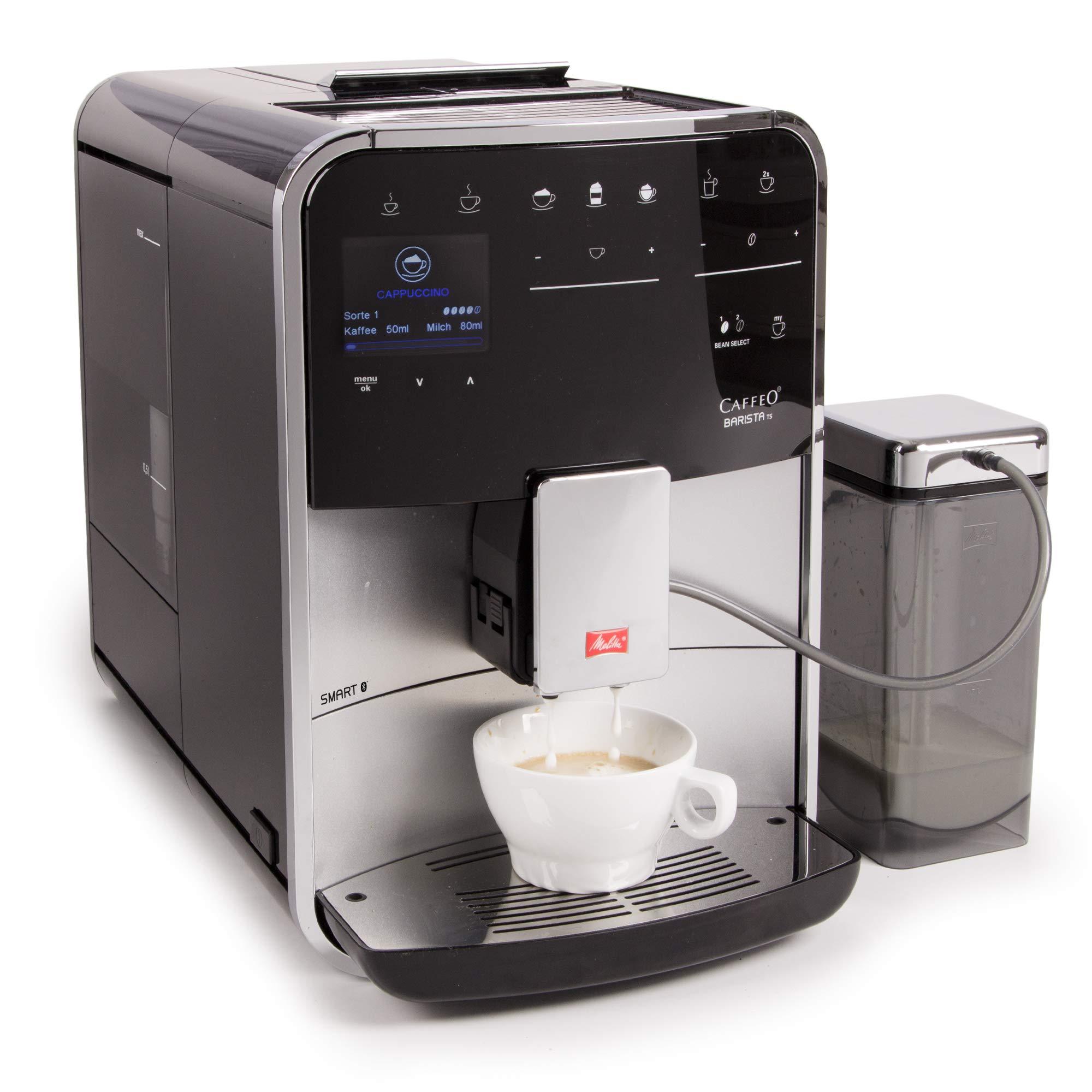 Melitta Barista TS Smart F850-101, Cafetera Automática con Molinillo Silencioso, Bluetooth, Pantalla Táctil, Personalizable, 21 Recetas, Plata: Amazon.es: Hogar
