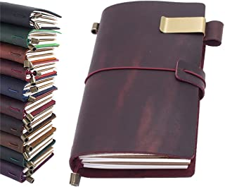 """Leather Journal, Handmade Vintage Refillable Travel Diary Writing Notebook Gift for Men & Women 8.7""""x4.7"""" Wine"""