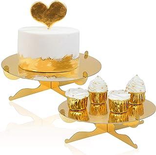 1-Tier Gold Round Cardboard Cupcake Stand Dessert Stand Reusable Birthday Wedding Festival Decoration Mini Cake Stand(2pcs)