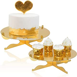 1-Tier Gold Round Cardboard Cupcake Stand Dessert Stand Reusable Birthday Wedding Festival Decoration Mini Cake Stand(2pcs)