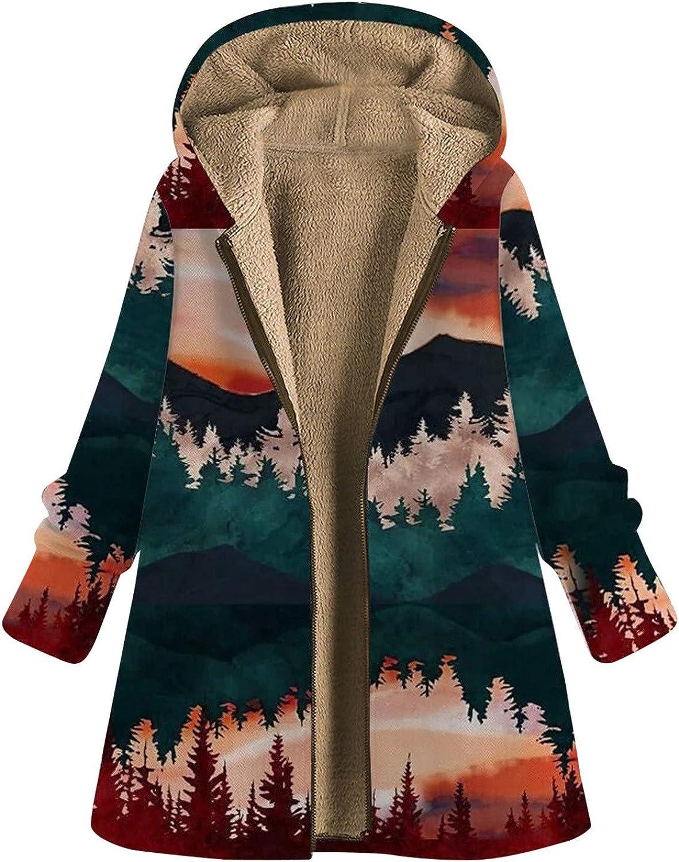 ZSBAYU Womens Winter Zipper Coats Plus Size Jackets Mountain Graphic Fashion Warm Vintage Boho Oversize Hoodie Coats