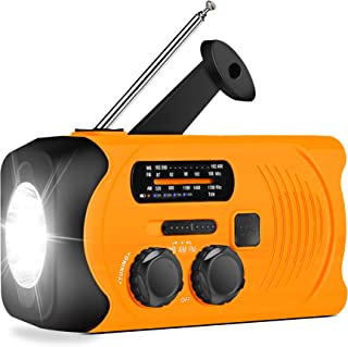 [Upgraded Version] RunningSnail Emergency Weather AM/FM NOAA Solar Powered Wind up Radio with SOS, 2000mAh Power Bank for Cell Phone and LED Flashlight(Orange)