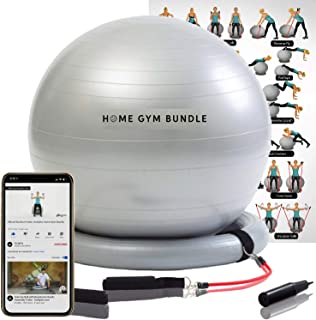 Home Gym Bundle Exercise Ball with 15lb Resistance Bands and Stability Base - Swiss Ball Fitness Workout Equipment Fitball...