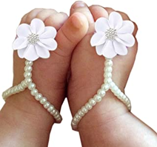 Baby Girl Pearl Chiffon Foot Flower Shoes Barefoot Sandals Infant Girls Shoes