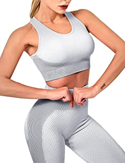 Women's 2 Piece Tracksuit Workout Outfits Seamless Textured High Waist Leggings and Sport Padded Bra Yoga Activewear Set