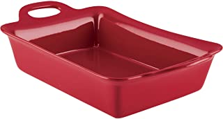 Rachael Ray Solid Glaze Ceramics Bakeware / Baking / Lasagna Pan, 9 Inch x 13 Inch, Red