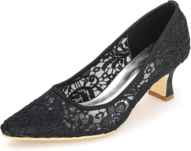 Ellenhouse Women's Lace Flower Hollow High Heels Wedding Pumps shoes EH004