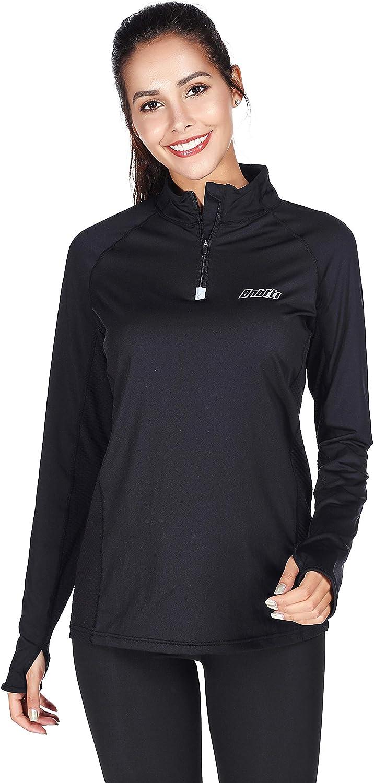 Bpbtti Women's Long Sleeve Quarter Zip top Running ShirtWicking and Breathable