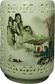 BUOP Porcelain Pencil Holder and Crystal Glass Paperweight Combo, A Set of Dome Magnifier and Lattice Ceramic Pen Cup Colored with Traditional Chinese Paintings, Decorative Chinaware, Eastern Art