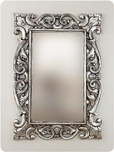 Rococo Espejo Decorativo de Madera Tanduk de 70x100cm en Plata (Envejecida)