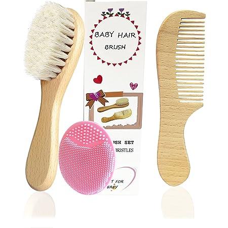 3 pièce Brosse à cheveux pour bébé,Brosse en poils de chèvre et brosse de massage en silicone pour le traitement des croûtes de lait Brosse en poils de bois pour les nouveau-nés et les tout-petits