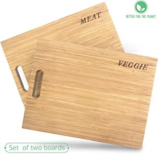 Sophie & Panda Organic Bamboo Cutting Boards for Kitchen - Enable cleaner and safer food preparation - Set of 2 chopping board to separate cutting Meat from Veggie - Cool Unique gift Butcher Block