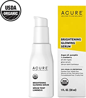 Acure Brightening Glowing Serum | 100% Vegan | For A Brighter & Appearance | Argan Oil, Pumpkin & Cranberry - Hydrates, Soothes & Adds Antioxidant Protection | All Skin Types | 1 Fl Oz