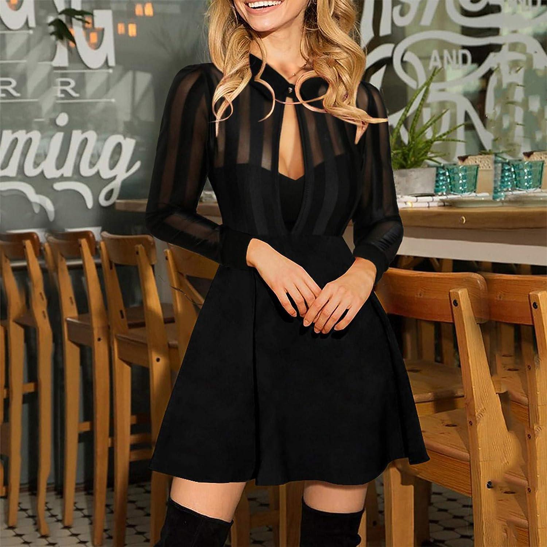 Shakumy Women Dresses Mesh Hollow Sequins A-Line Mini Short Dress Long Sleeve Cocktail Dress Evening Elegant Party Dress