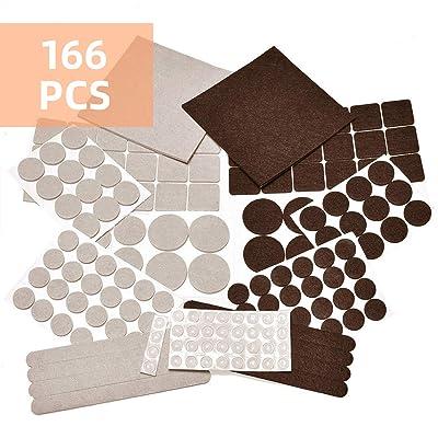 166 Piece Furniture Felt Pads, Anti-Scratch Ant...