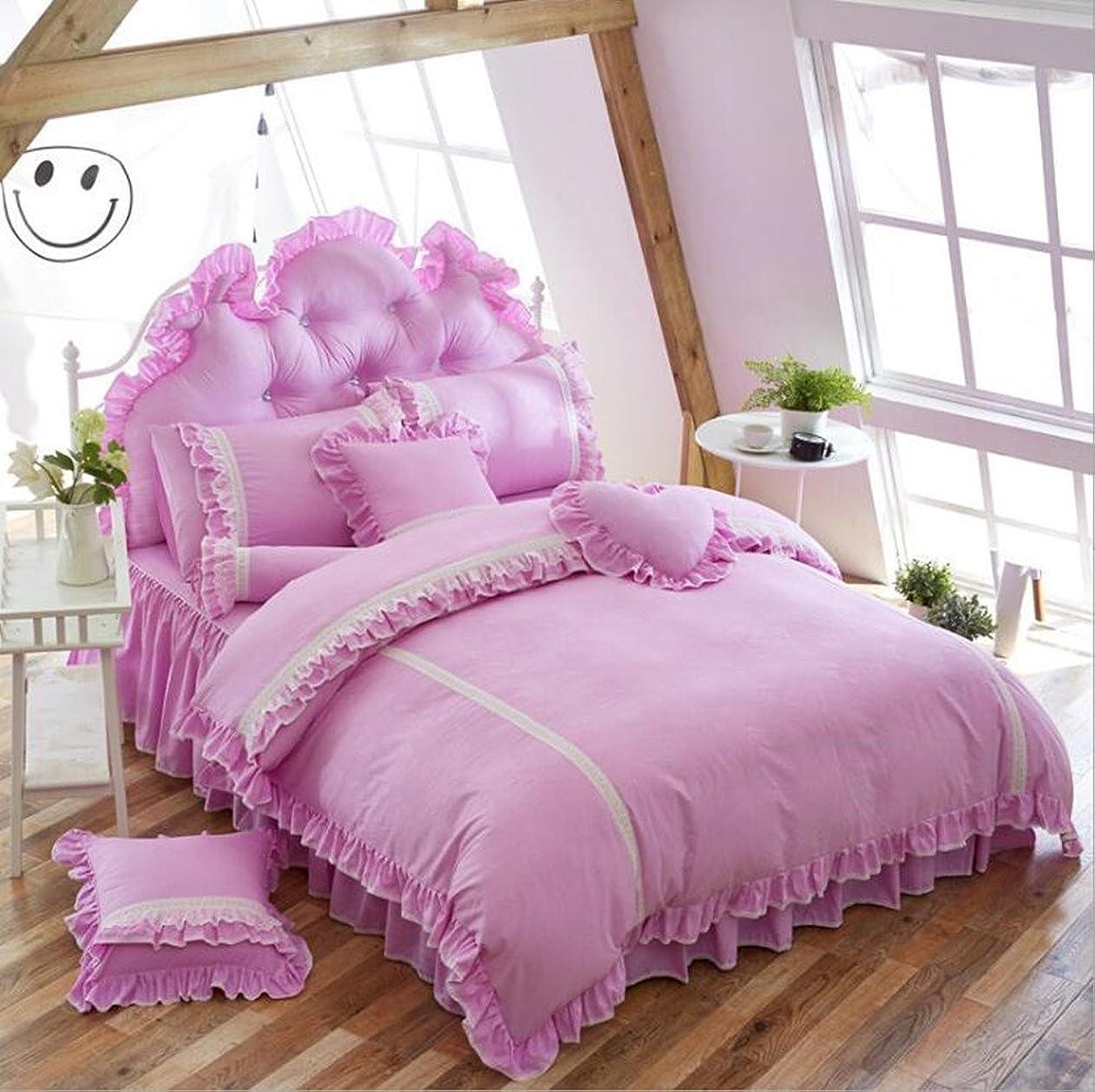 安西質素なほこりっぽい韓国スタイル寝具セット4pcs-judy Dre AMホームテキスタイルプリンセス女の子寝室ベッドセット4ピースベッドスカート掛け布団カバーセットガールズ/レディース フル パープル SJT0073-Purple-Full
