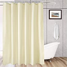AooHome Extra Long Solid Bathroom Curtain, Fabric Shower Curtain Liner with Hooks for Hotel, Weigthed Hem, Waterproof, 72 ...