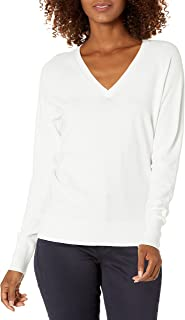 Daily Ritual suéter de Manga Larga con Cuello en v elástico de Calibre Fino Jersey para Mujer