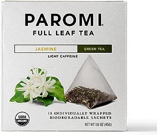 Paromi Tea Organic Jasmine Green Tea, 15 Pyramid Tea Bags (Pack of 6) Non-GMO