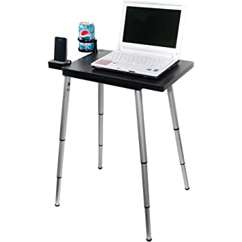 Tabletote Plus Black Collapsible Portable Compact Lightweight Adjustable Height 15 17 Inch Laptop Notebook Computer Travel Stand Debate Table Foldable Desk Ergonomic Convert Standing Desk