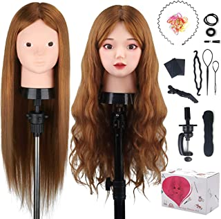 Beauty Star 23.5 inch 80% Real Human Hair Training Head Cosmetology Make-up Hairdressing Mannequin Manikin Doll Head with Table Clamp Holder + DIY Hair Styling Braid Set, Light Brown