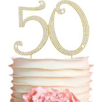 Personalised. Any age and text Sparkly 50th Birthday Cake Topper Number 50 SALE PRICE
