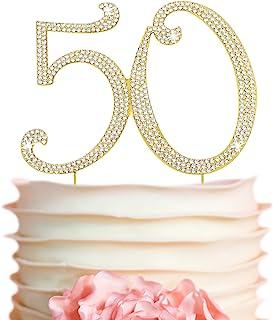 50 Cake Topper - Premium Gold Metal - 50th Birthday or Golden Anniversary Party Sparkly Rhinestone Decorati...