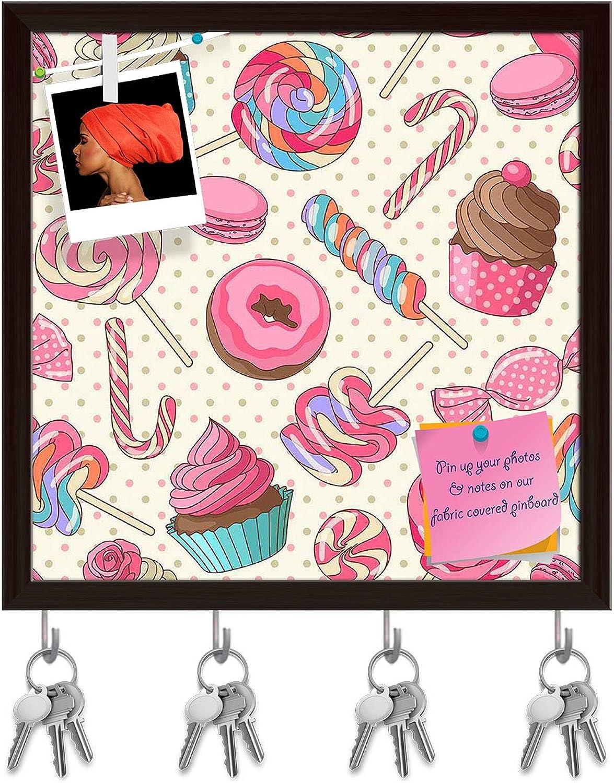 Artzfolio Yummy Lollipop Candy Key Holder Hooks   Notice Pin Board   Dark Brown Frame 20 X 20Inch