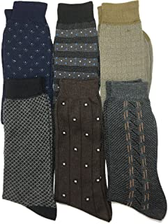 Dress Socks Men Pack with Colorful Designs in Formal Patterns Fashionable Men Dress Socks for Business - Calcetines for Men (6-Pair)