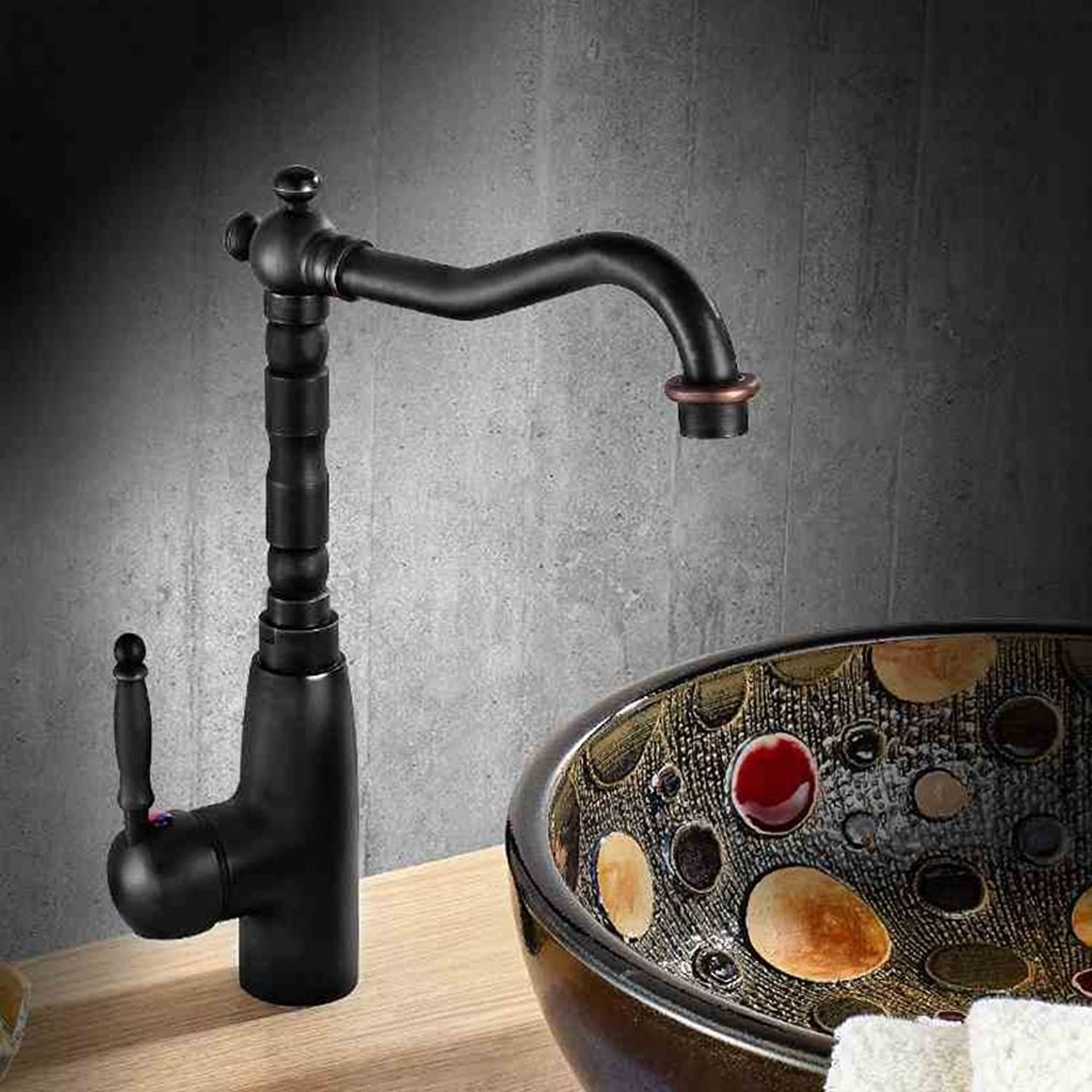 Cqq faucet European style black Antique taps Full copper hot and cold kitchen wash basin wash basin faucet