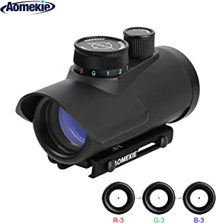 AOMEKIE Airsoft Red Dot Sight Reflex Sight Rifle Scope 30mm Multi-Coated Lens with 22mm/11mm Weaver Picatinny Rail Mount for Hunting Shooting