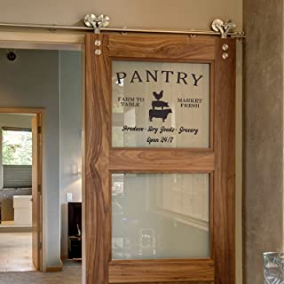 Pantry Sign Glass Door Wall Decal, Kitchen Door cabinets Decorations Farm to Table Market Fresh Produce Dry Goods Grocery,...