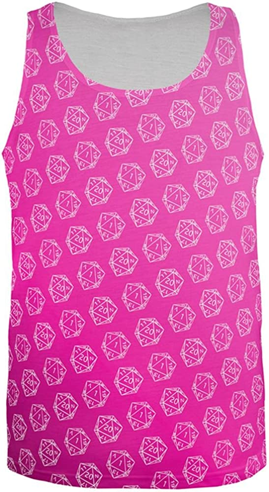 Old Glory D20 Gamer Critical Hit and Fumble Pink Pattern All Over Mens Tank Top