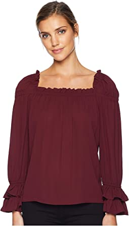 Long Sleeve Square Neck Blouse w/ Tiered Ruffle Cuff