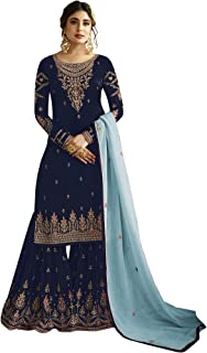 ARIA FABRICS Womens's Embroideried Semi Stitched Salwar and Sharara Suits