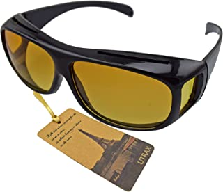 Utrax Clear View Vision UV Protection Wraparounds Driving Glasses Sunglasses Black Yellow Lens Fits Over Eyeglasses (Yellow for night)