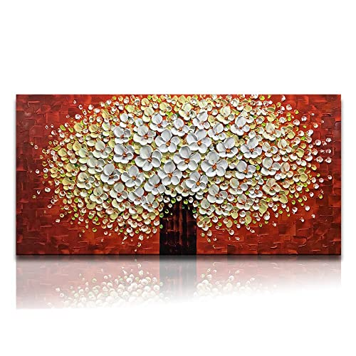 bad4a1d88b9 Desihum-Textured 3D Wall Art On Canvas Elegant Abstract Oil Paintings White  Red Yellow Flowers