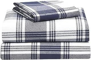 OCM 400 Thread Count Navy Plaid 3 Piece Twin XL Sheet Set for College Dorm Bedding
