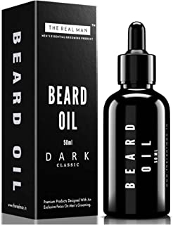 THE REAL MAN Beard Oil & Conditioner Dark Classic(50ml). Hair Growth Oil with Jojoba oil | Tee tree oil | Olive oil | Almond oil | Sandal wood Oil | Cedar wood oil | Sunflower oil | Coconut oil | Vita