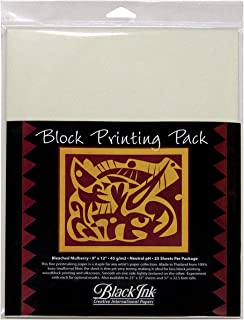 Black Ink Thai Mulberry Block Printing Paper Packs bleached mulberry