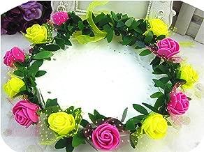 Rose Carnations Peony Flower Halo Bridal Floral Crown Hair Band Wreath Mint Head Wreath Party Wedding Headpiece Bridesmaid,16