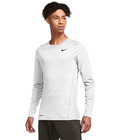 Nike Pro Top Warm Long Sleeve Crew (White/Black) Men