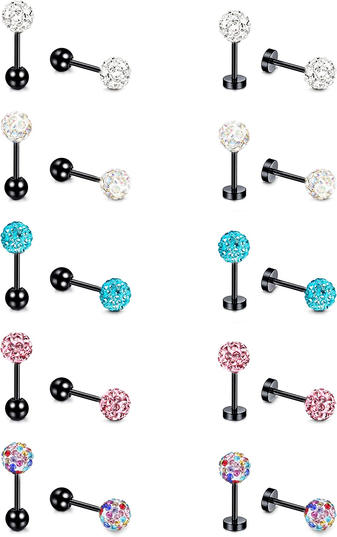 HANPABUM 20G Shiny CZ Surgical Steel Stud Earrings Tragus Helix Conch Piercing Cartilage Jewelry Set