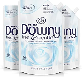 Downy Free & Gentle Liquid Fabric Conditioner, Fabric Softener - 48 Oz. Pouches, 3 Pack